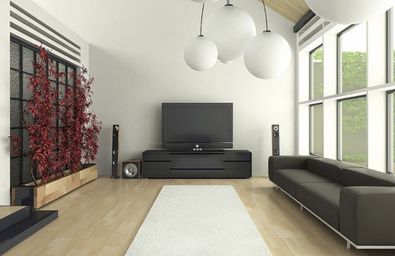Темная мебель в гостиной в стиле минимализм