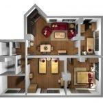 Бардовая мебель в гостиной