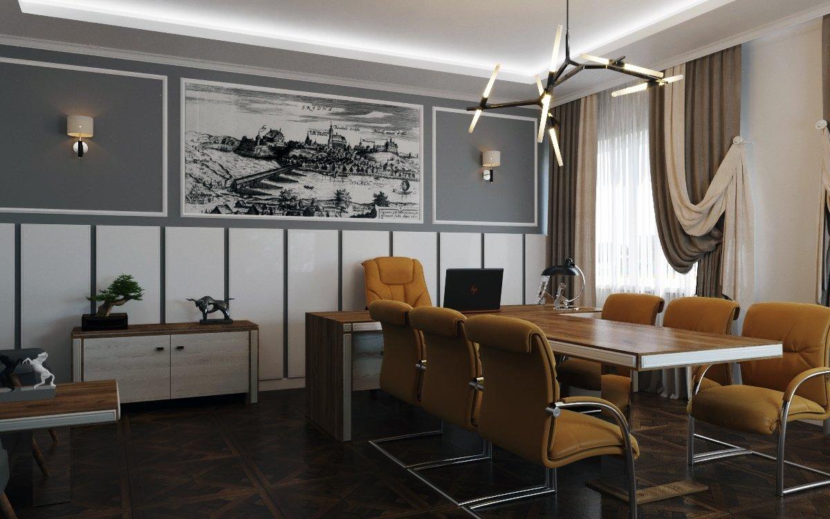 Комната для переговоров в простом декоре