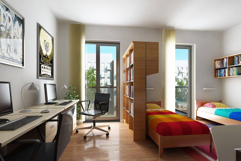 Перегородка из полок между спальней и рабочей зоной