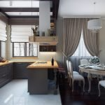 Different floor coverings in the kitchen and dining areas