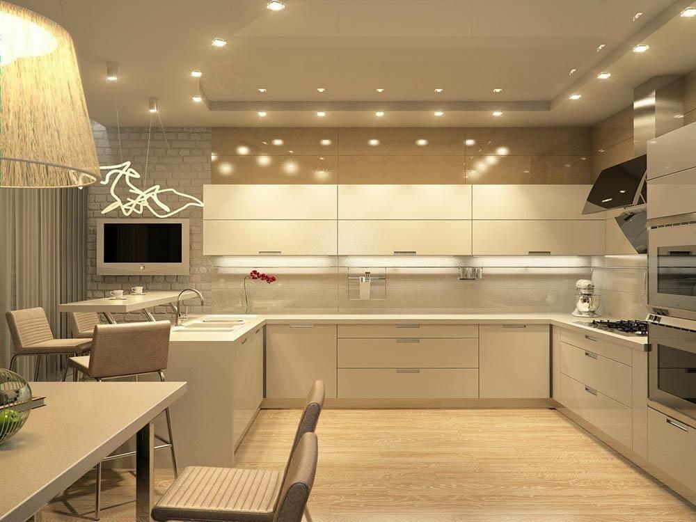 Интерьер кухни в светло-бежевом цвете