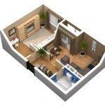 План жилья из одной комнаты и кухни