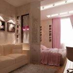 Детская и взрослая спальня в одной комнате