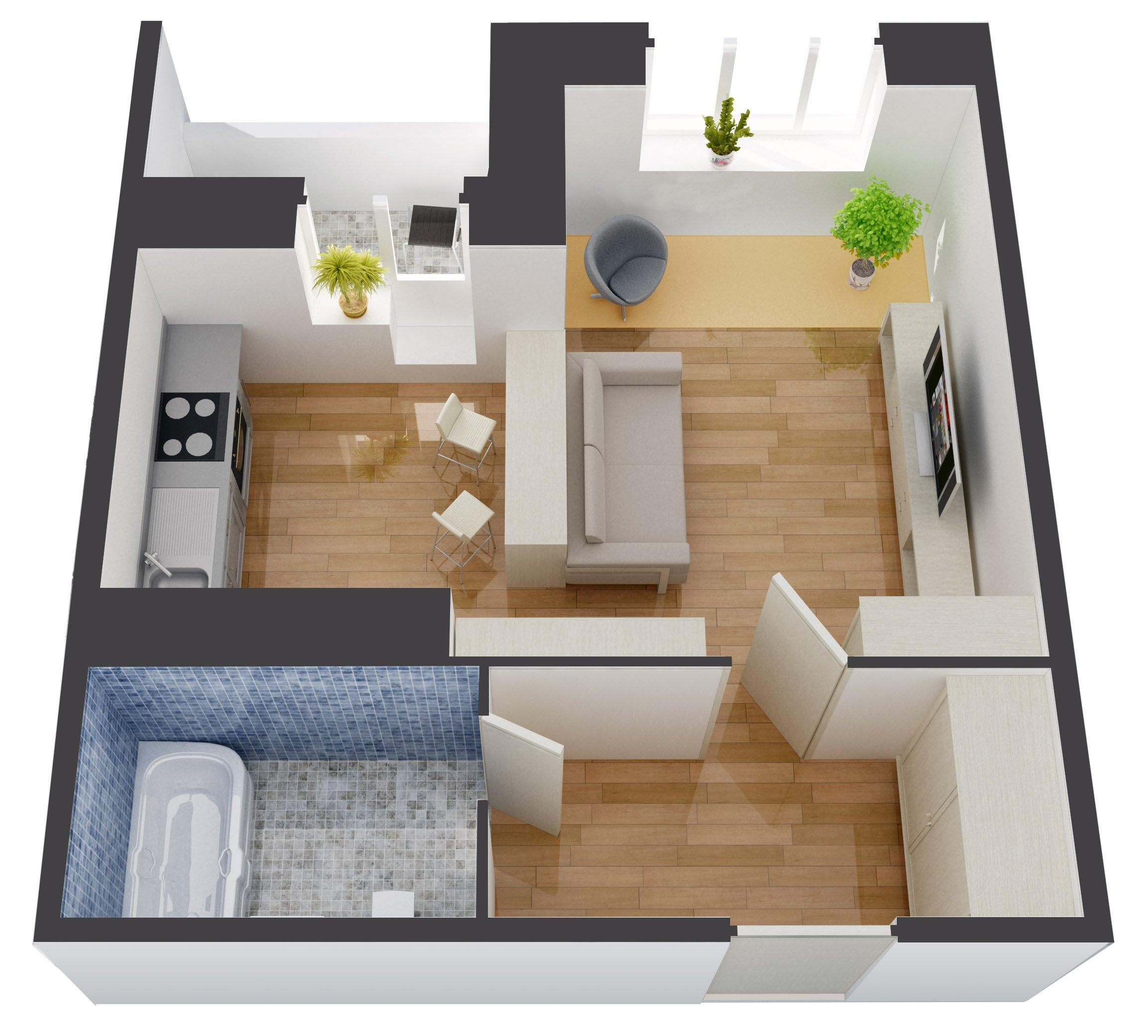 Проект однокомнатной квартиры фото