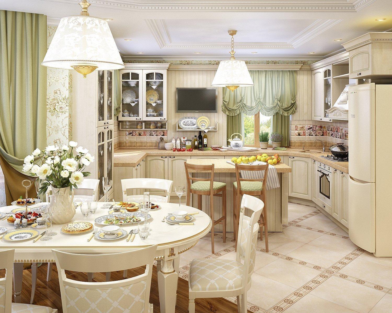 Интерьер кухни столовой в стиле прованс