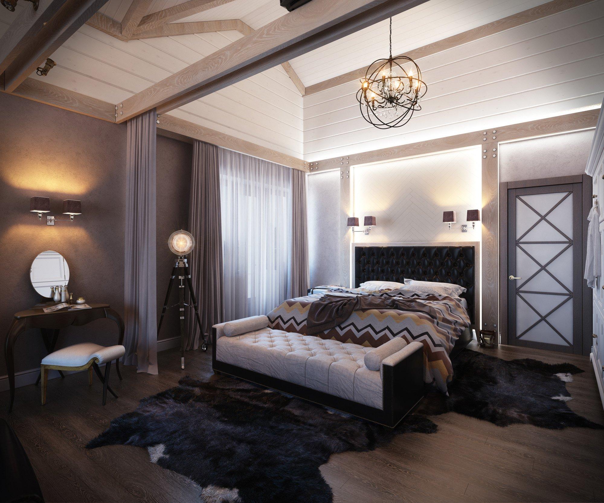 Освещение в спальне в частном доме