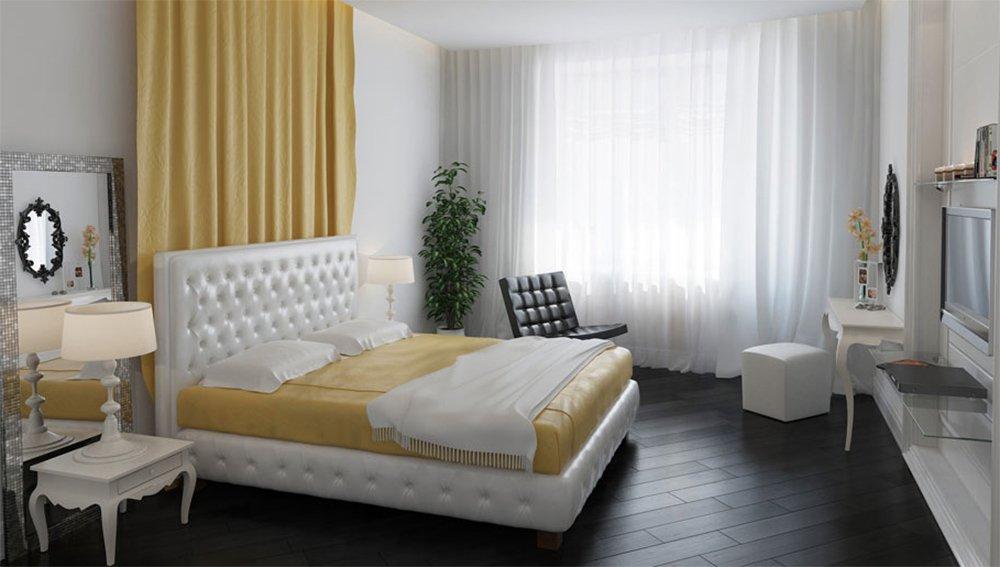 Спальня в светлых тонах в частном доме