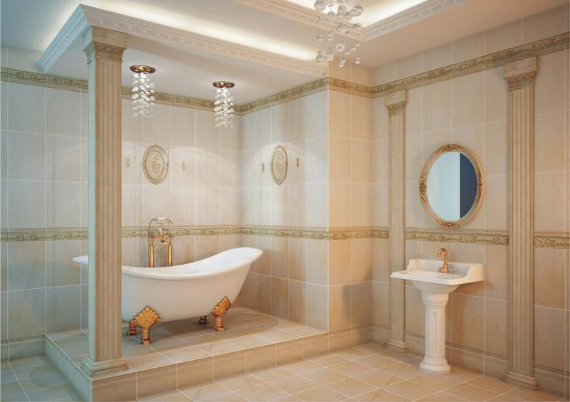 Раковина на ножке в ванной в классическом стиле