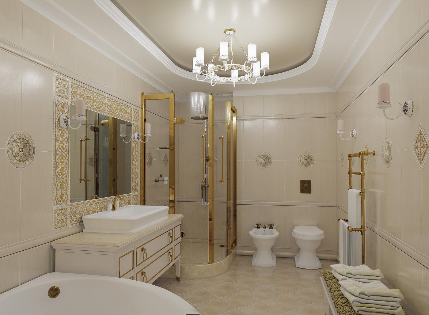 Душевая кабина в ванной в классическом стиле
