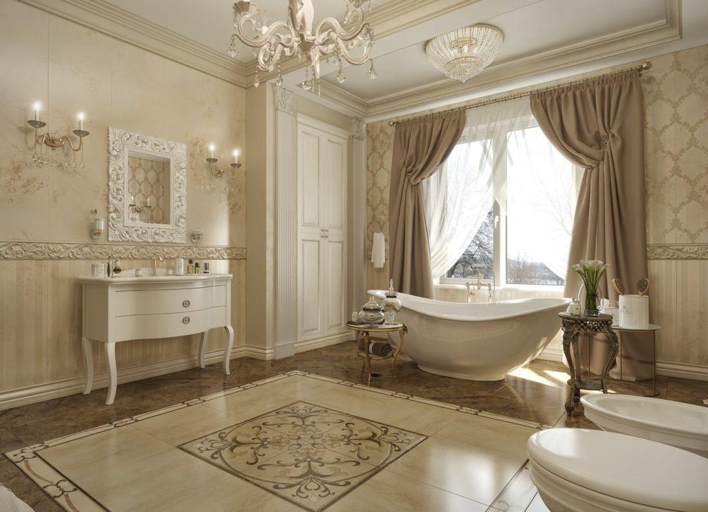 Окно со шторами в ванной в классическом стиле