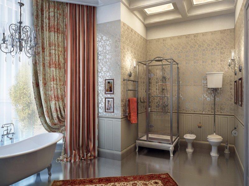 Текстиль в ванной в классическом стиле