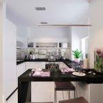 Кухня в белом цвете со столешницей венге