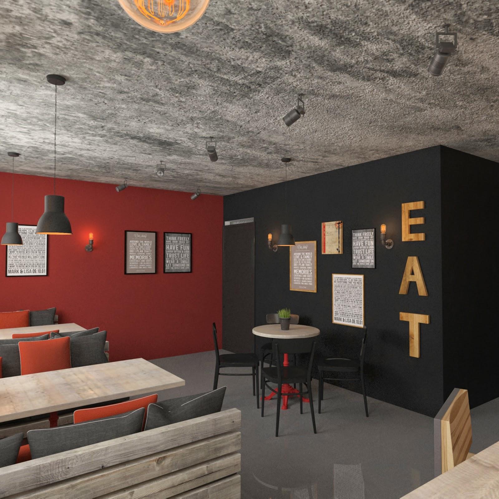 Бетонный потолок в кафе в стиле лофт
