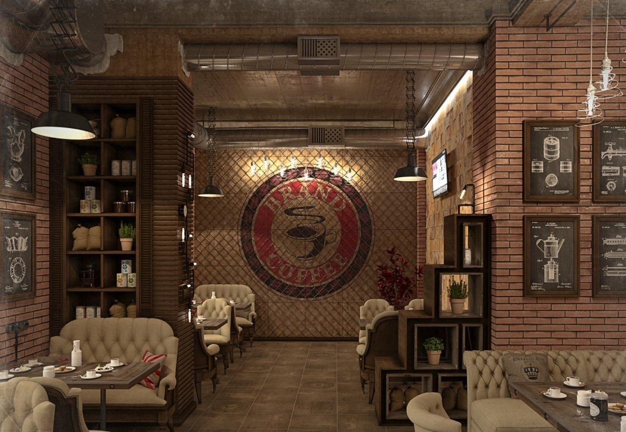 Интерьер кафе в стиле лофт в кирпичном цвете