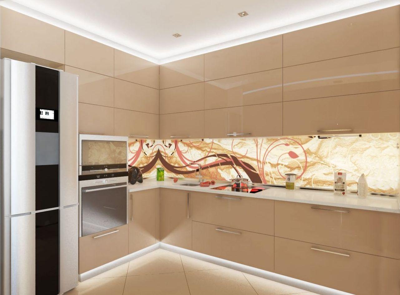 Потолок с подсветкой на кухне с мебелью цвета капучино
