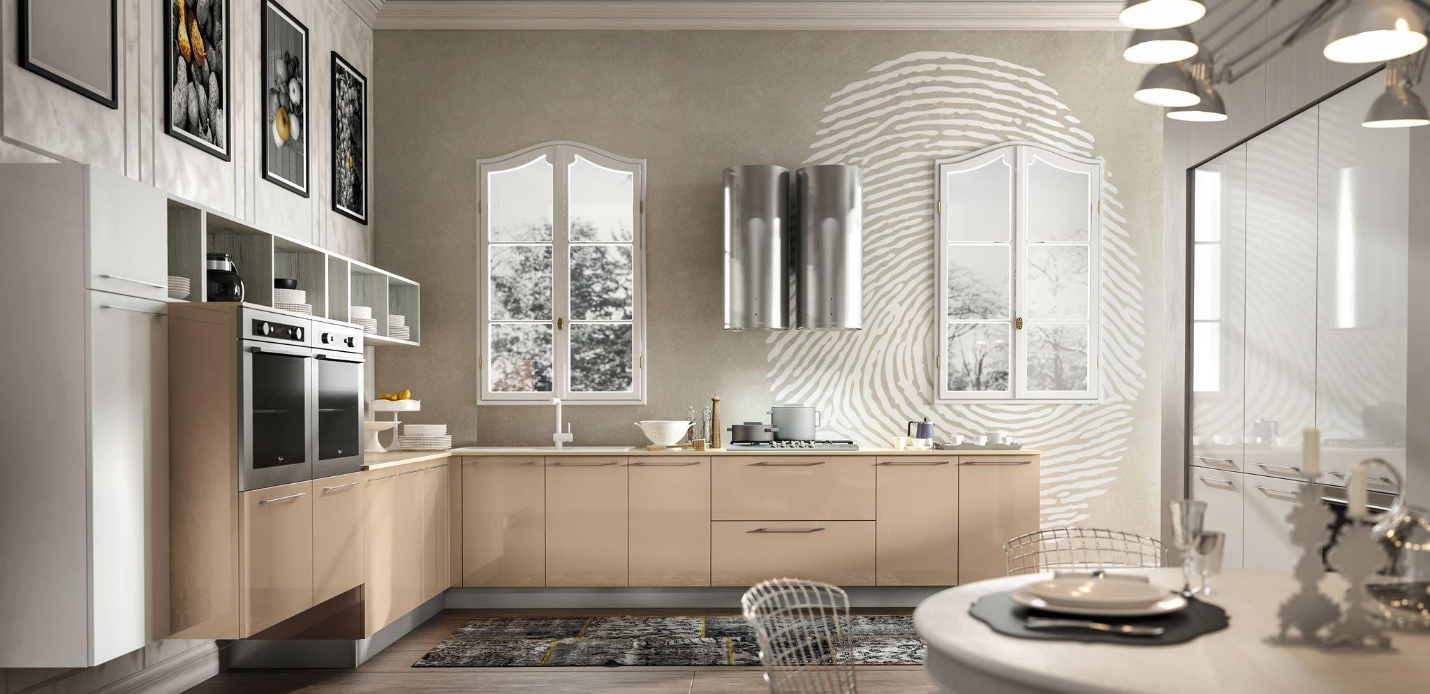 Декор на кухне с мебелью цвета капучино