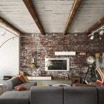 Стена под кирпич в гостиной