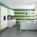Полосатые стены в кухне