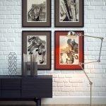 Комод и лампа вдоль стены