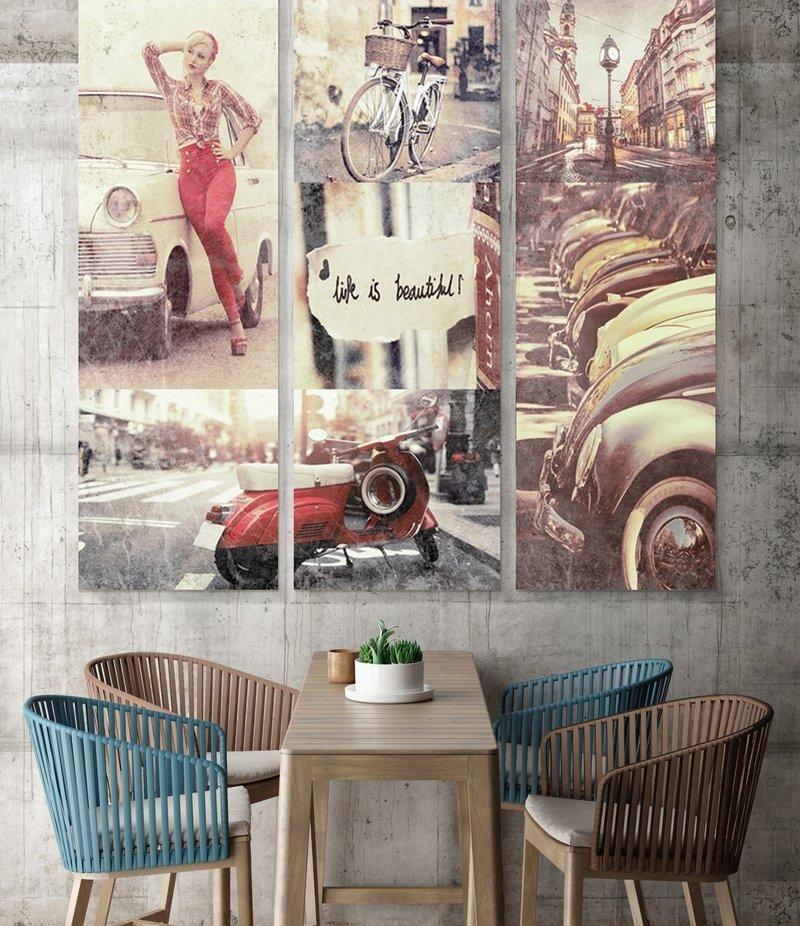 ретро постеры в интерьере летней коллекции одежды