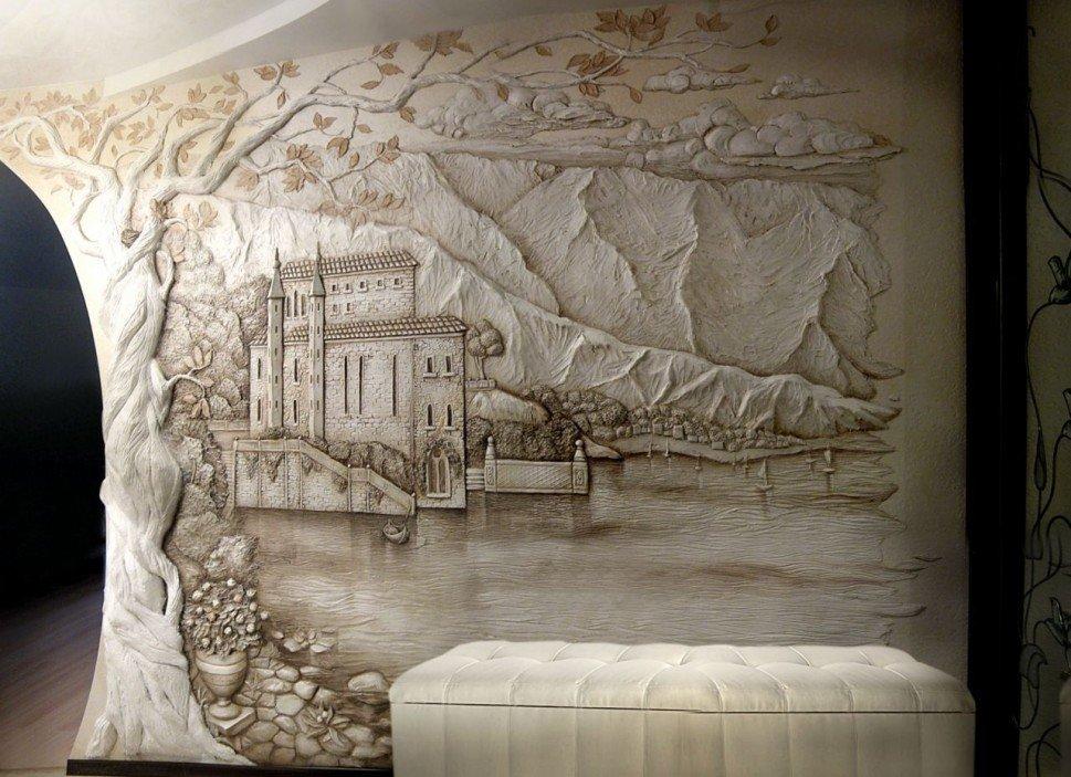 Объемная роспись на стене в интерьере