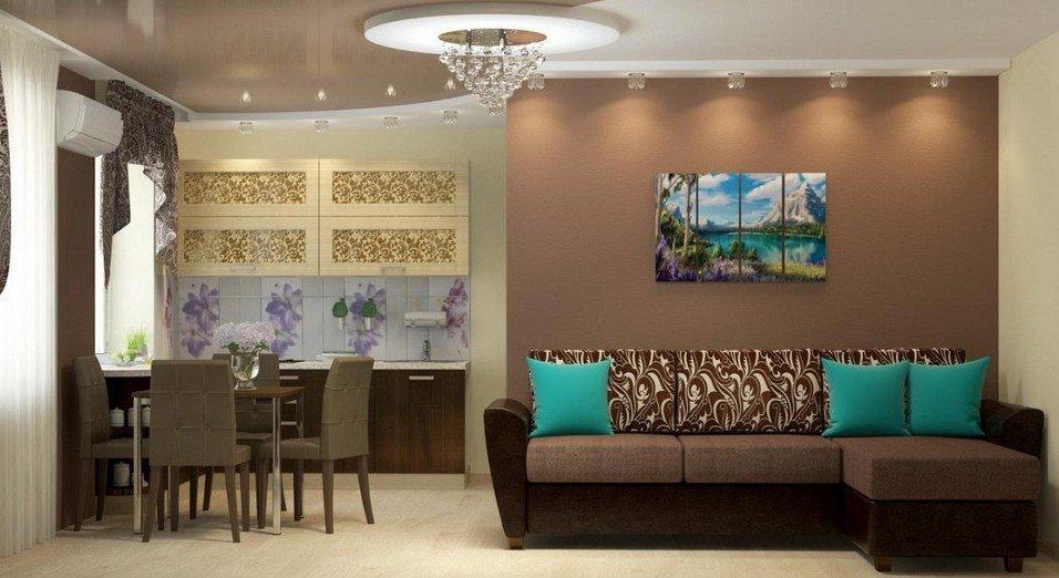 Интерьер гостиной-столовой в коричневом цвете