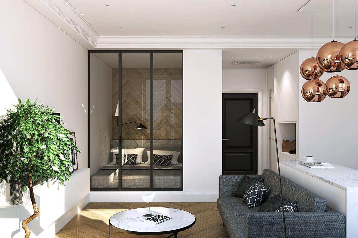 Расположение кровати в небольшой квартире