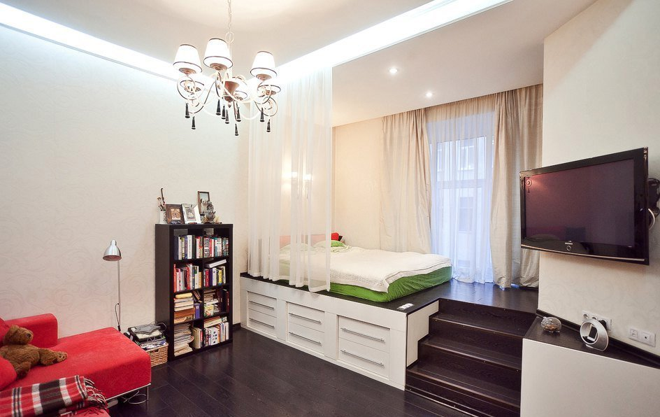 Зонирование спальни и гостиной
