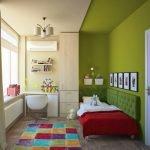 Зеленые стены в детской