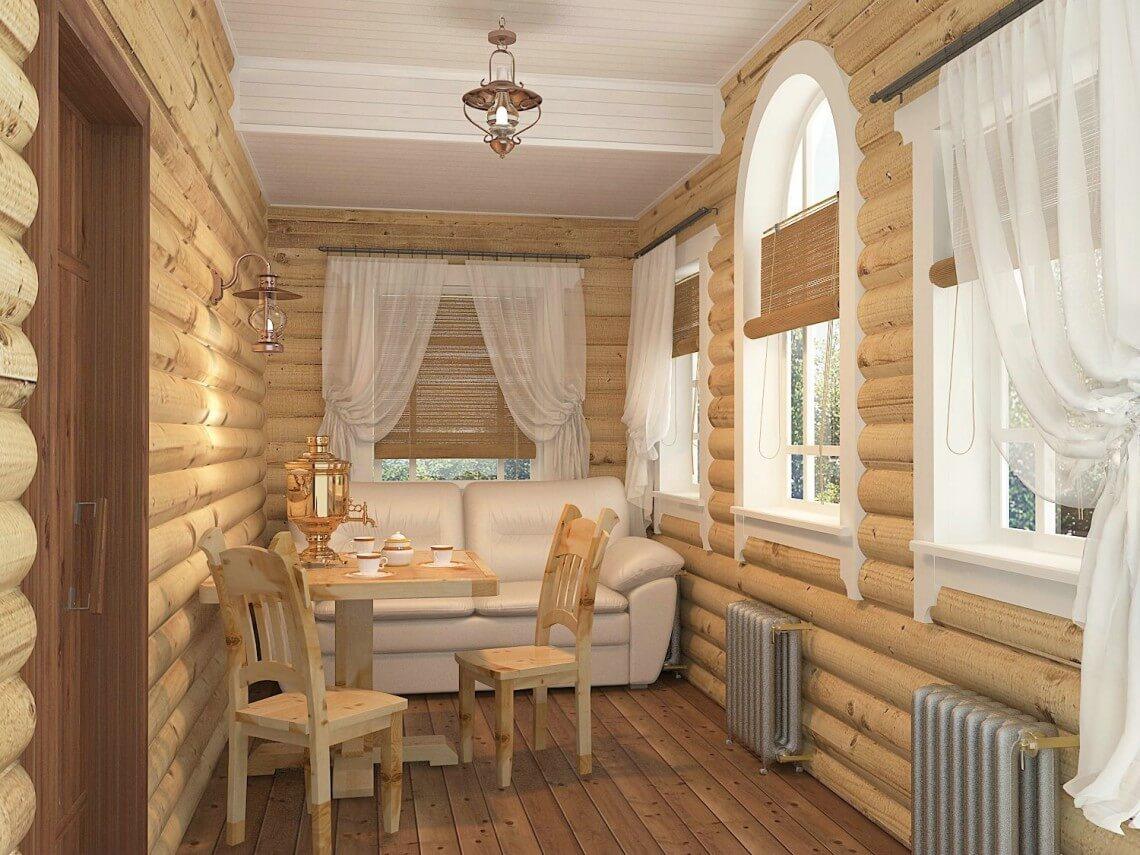 Интерьер комнаты отдыха в бане
