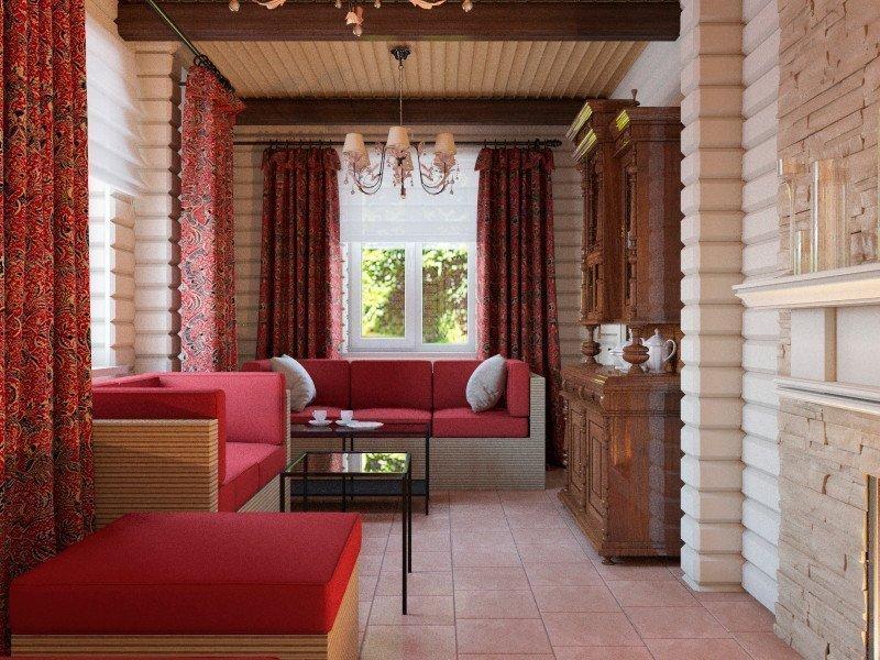 Красный цвет в интерьере комнаты отдыха в бане