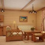 Комната отдыха в бане в деревенском стиле