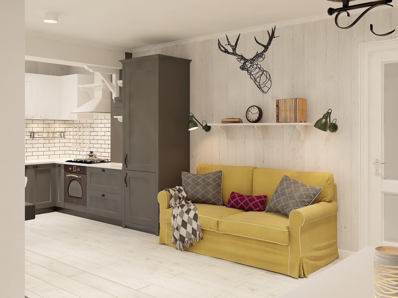 Яркий диван в кухне