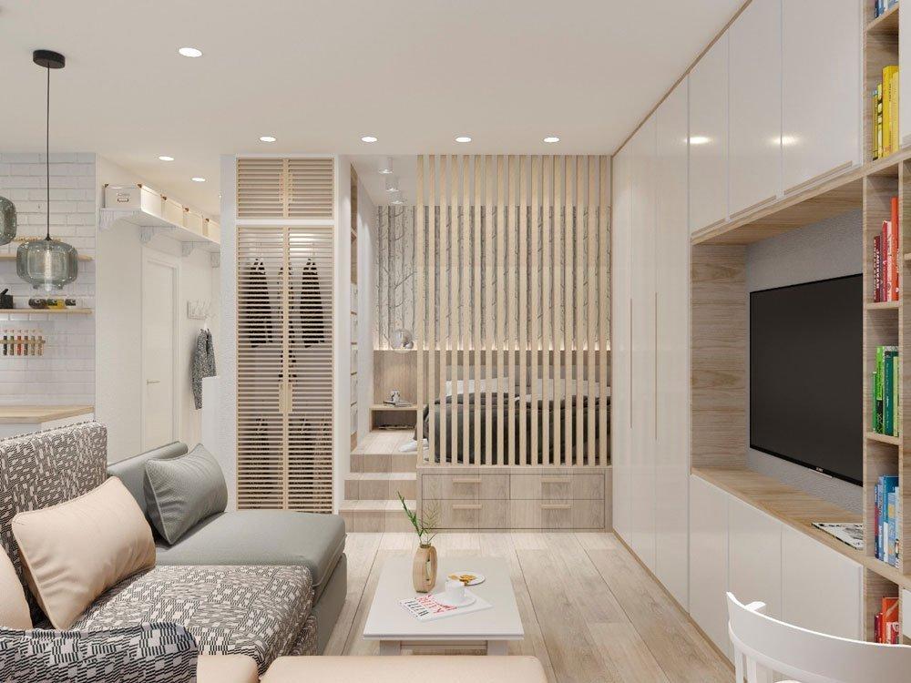 Дизайн однокомнатной квартиры для пятерых фото