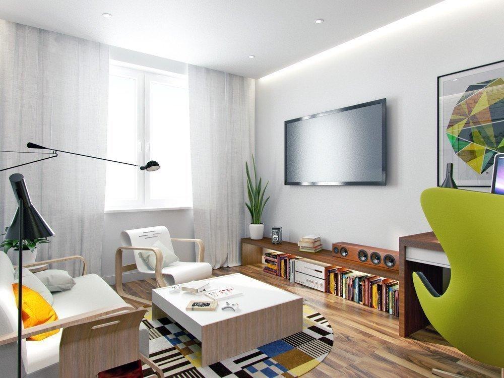 Креативный дизайн гостиной 18 кв. м.