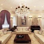 Сиреневые шторы в светлом интерьере