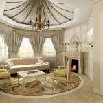Потолок из ткани в гостиной