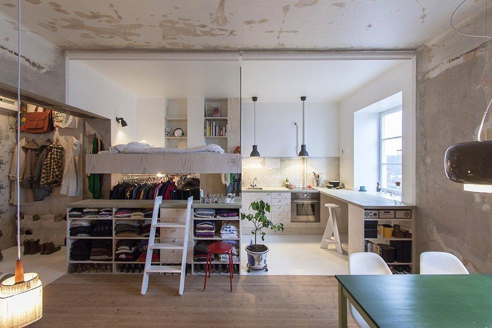 Кухонная зона в однокомнатной квартире 36 кв м