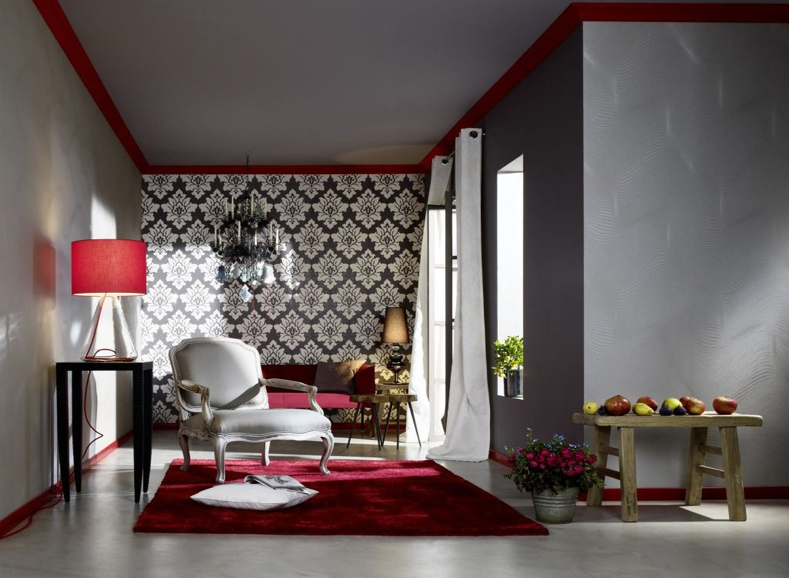 Сочетание разных обоев в дизайне гостиной