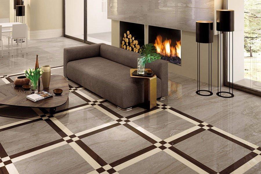 Плитка на полу в гостиной