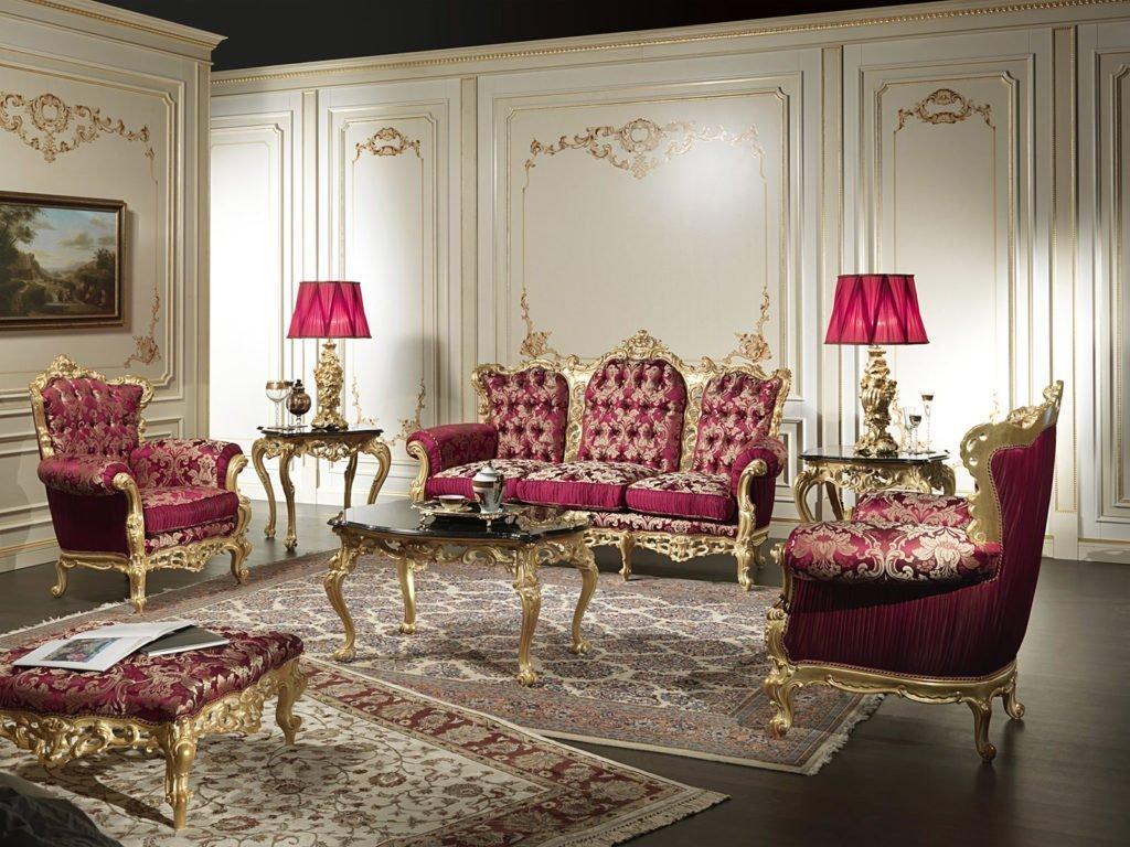 Бардовая мебель в красивом интерьере