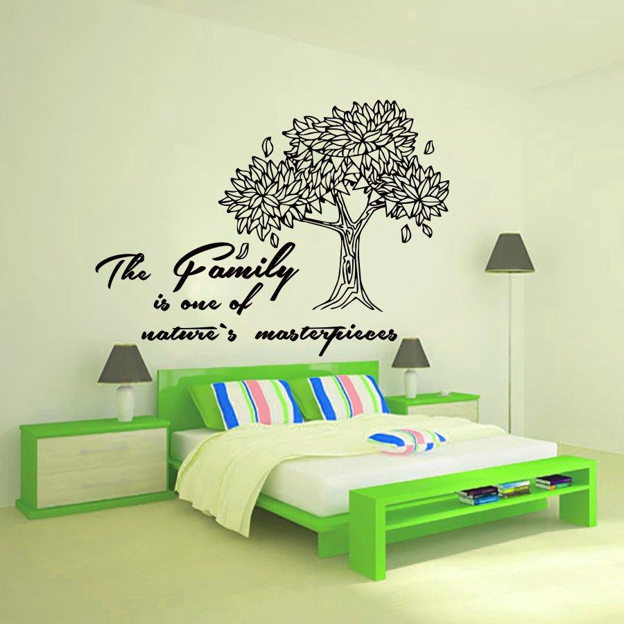 Интерьер спальни с наклейками на стене