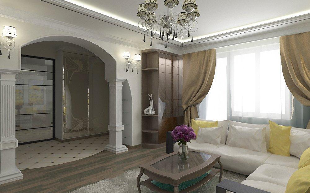 Прихожая-гостиная в частном доме