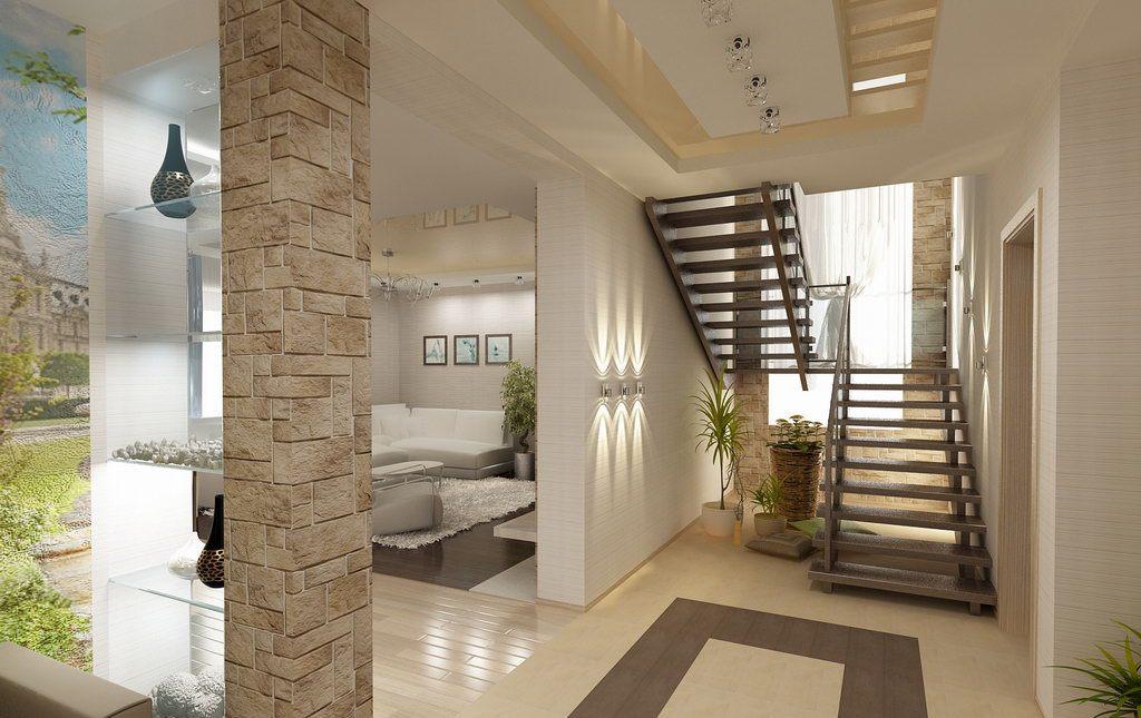 Лестница в прихожей-гостиной