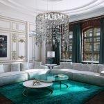 Бирюзовый ковер в светлой гостиной