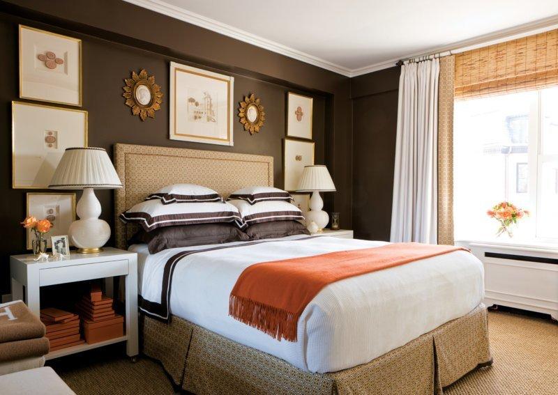 Шоколадный цвет в интерьере спальни