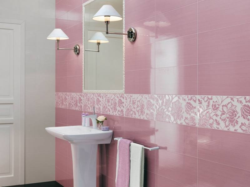 Горизонтальная плитка в ванной