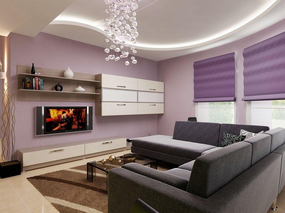 Фиолетовый и черный в дизайне гостиной