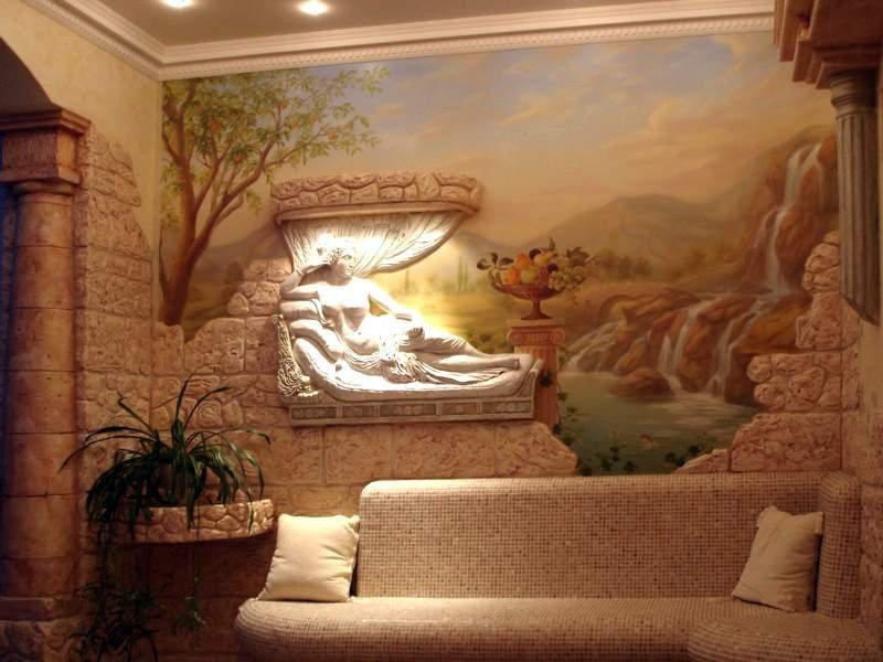 Барельеф над диваном